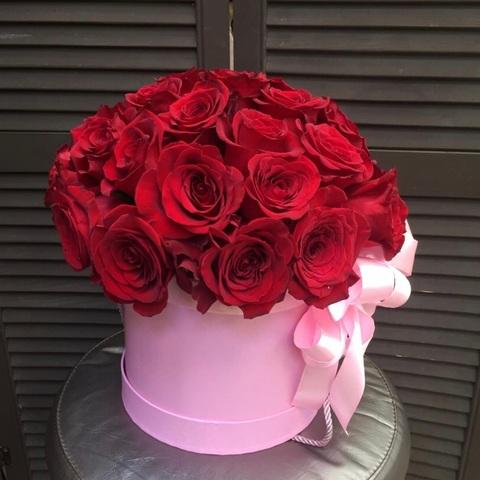 29 роз в шляпной коробке #1790