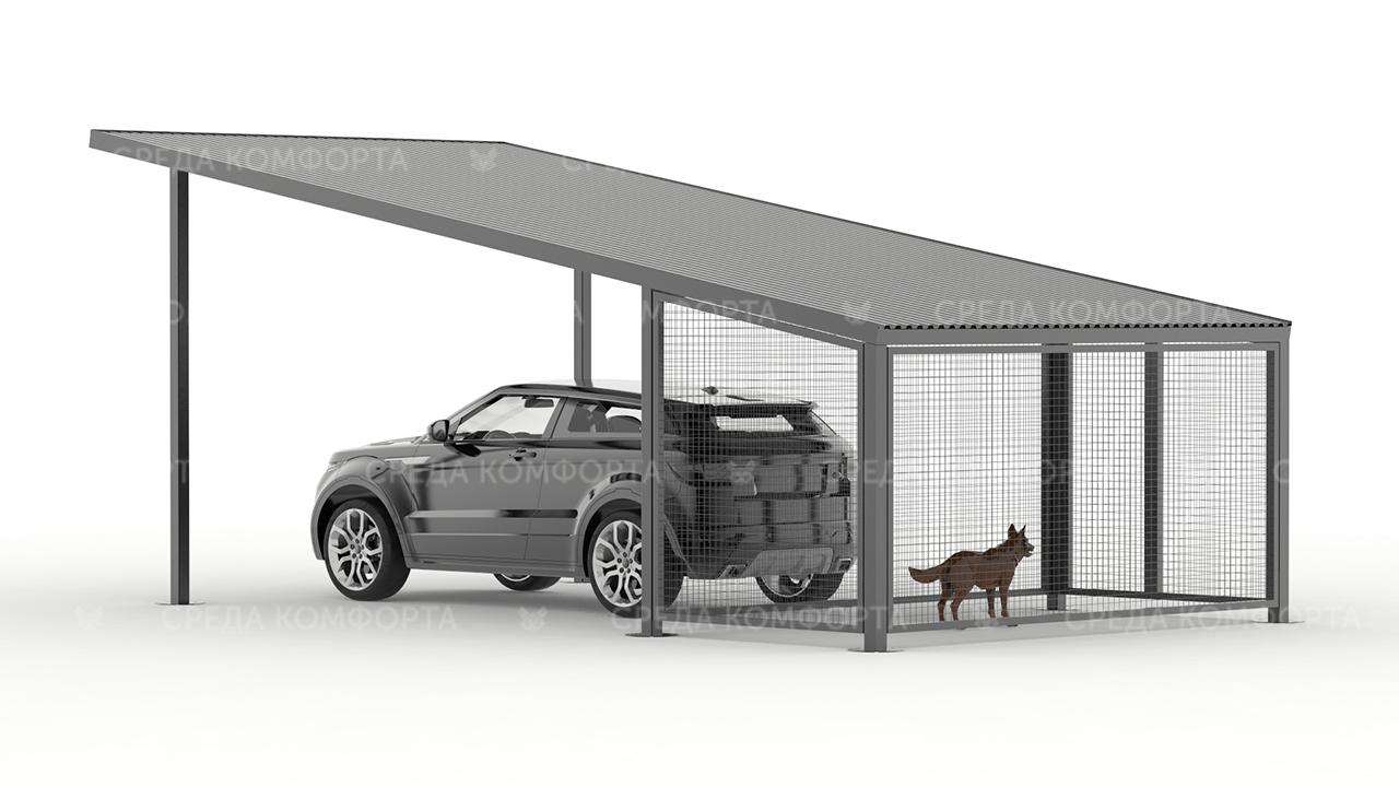 Навес для автомобиля с будкой для собаки AVNVS0001