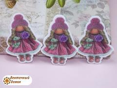 Пластиковый декор Тильда в горошковой юбке №4