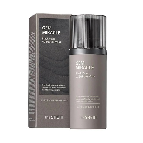 Маска кислородная для лица с экстрактом жемчуга The Saem Gem Miracle Black Pearl O2 Bubble Mask (10гр.)