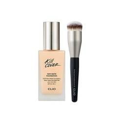 Матовая тональная основа + кисть CLIO Kill Cover New Matte Foundation SPF20 PA++ 38g + Brush Set