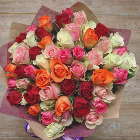 51 роза 50 см с оформлением #1441