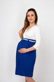 Платье для беременных 07986 белый-синий