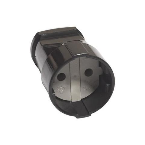 Кабельная розетка 2П б/з с з/ш 10А 250B черная TDM