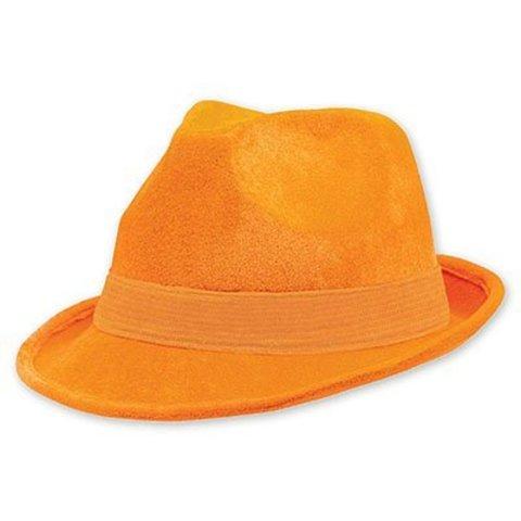 Шляпа-федора велюр оранжевая/A