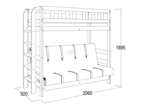 Кровать двухъярусная из массива №3