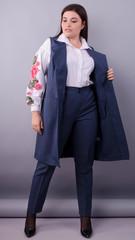 Классик. Стильный офисный костюм двойка plus size. Синий.