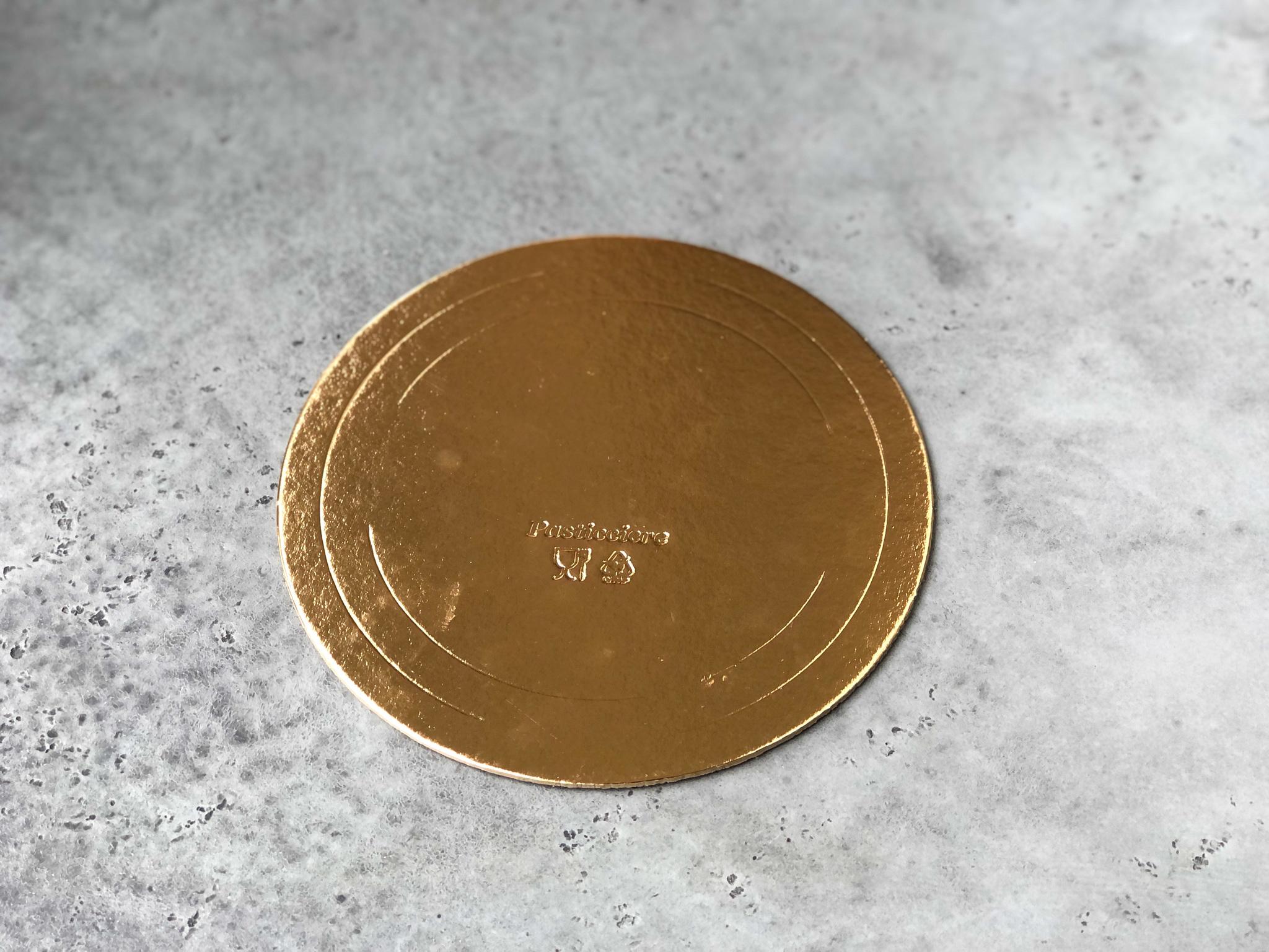 Подложка круглая односторонняя золотая 22 см, 3,2 мм