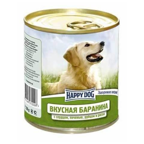 HAPPY DOG Консервы для собак с бараниной, сердцем, печенью, рубцом и рисом 9000 г. (750г.*12)