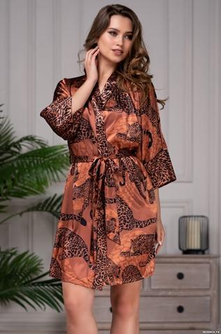 Короткий халат с принтом Mia Amore Amazonka (70% натур. шелк)
