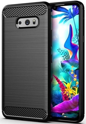 Чехол для LG V50S (G8X) цвет Black (черный), серия Carbon от Caseport