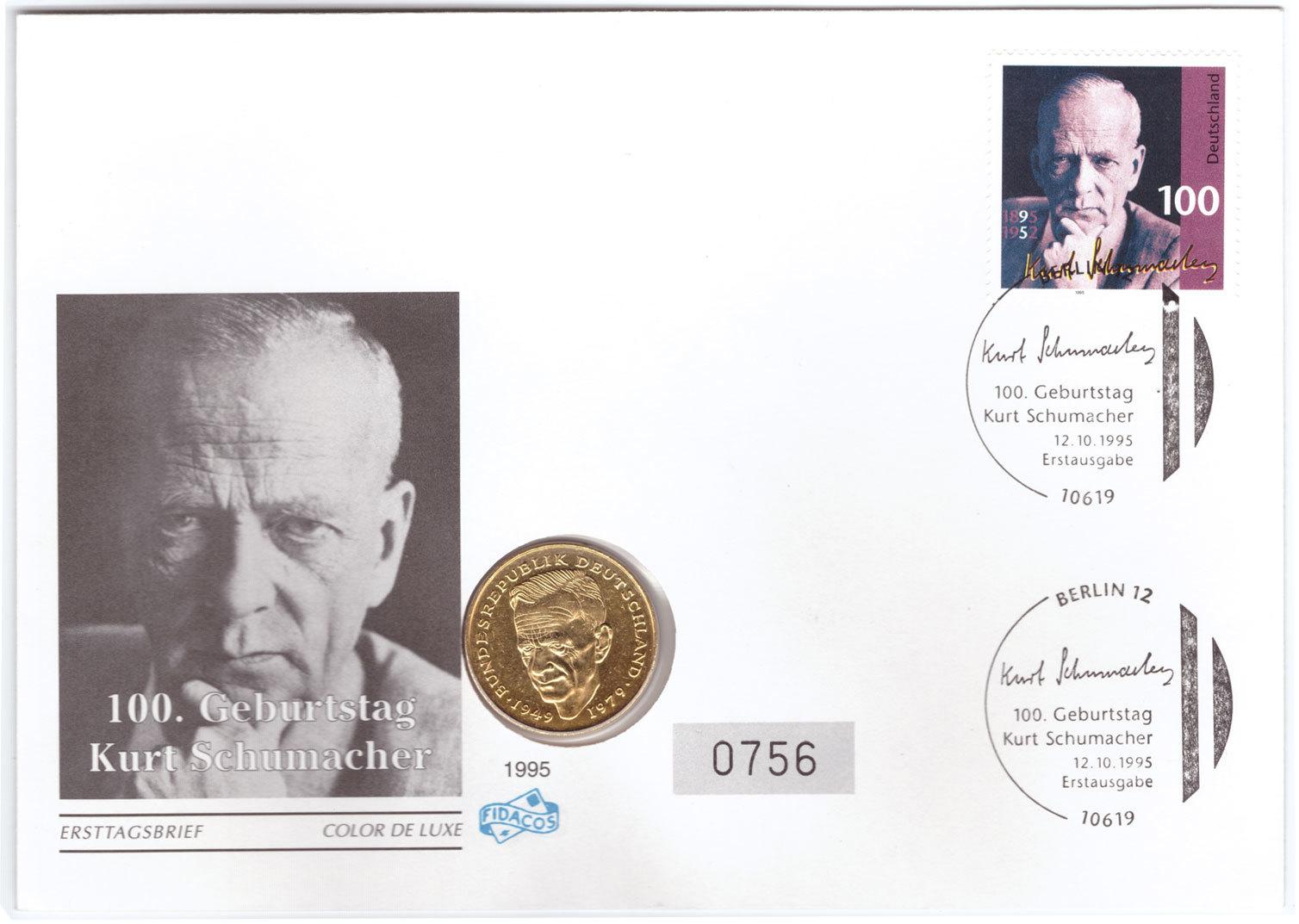 2 марки. 20 лет ФРГ - Курт Шумахер. (F) Германия. 1989 г. UNC (в конверте со спецгашением)