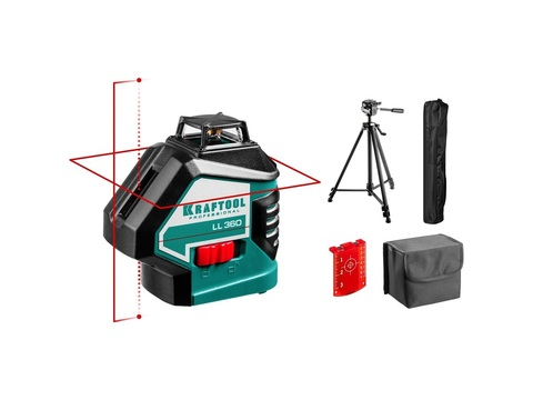 KRAFTOOL LL360 #3 нивелир лазерный, 2х360° , 20м/70м,  IP54, точн. +/-0,2 мм/м, штатив, в коробке