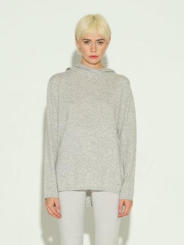 Женский джемпер с капюшоном светло-серого цвета из шерсти и кашемира - фото 2
