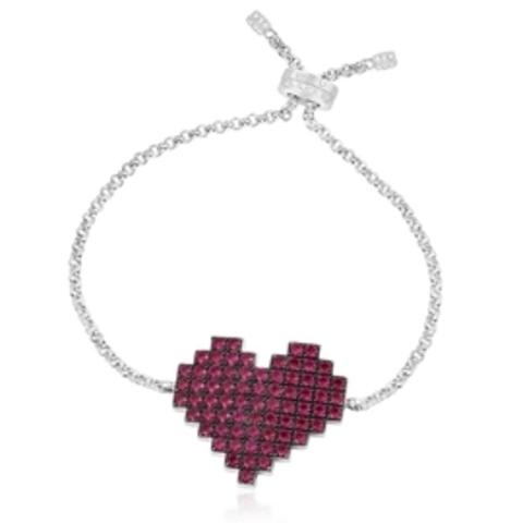 37987- Браслет из серебра с подвеской бордовое сердце