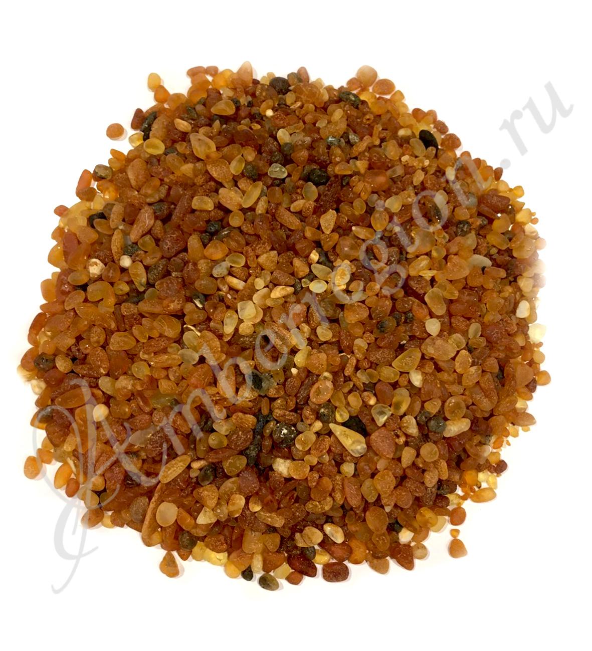 Янтарная крошка (полуфабрикат), фракция 5-6 мм (полутёмный) неполированный (алмазная шлифовка)