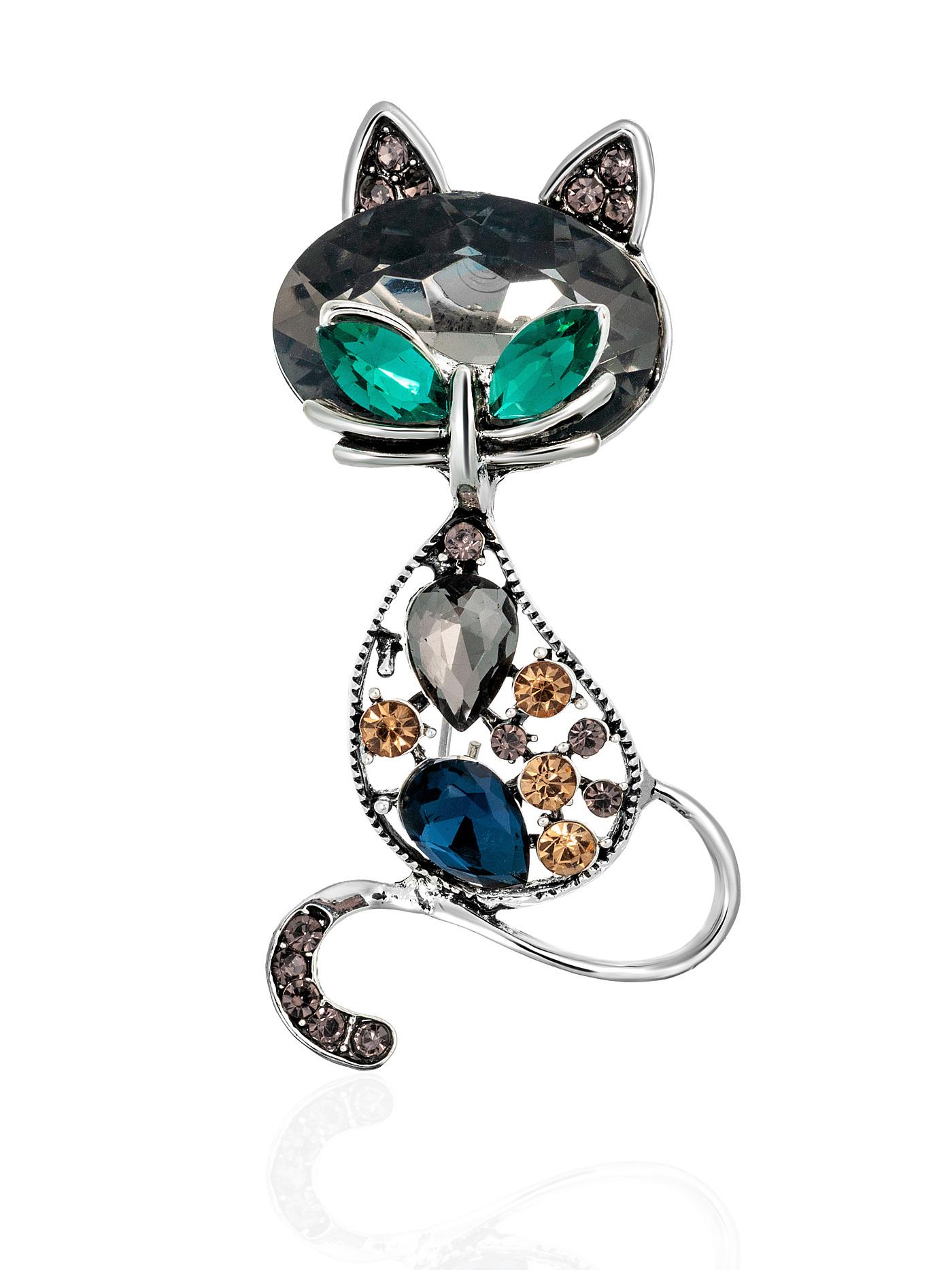 Брошь Кошка с кристаллами в подарочной коробке, подарок подруге