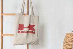 Сумка-шоппер с принтом Кавасаки (Kawasaki) бежевая 0012