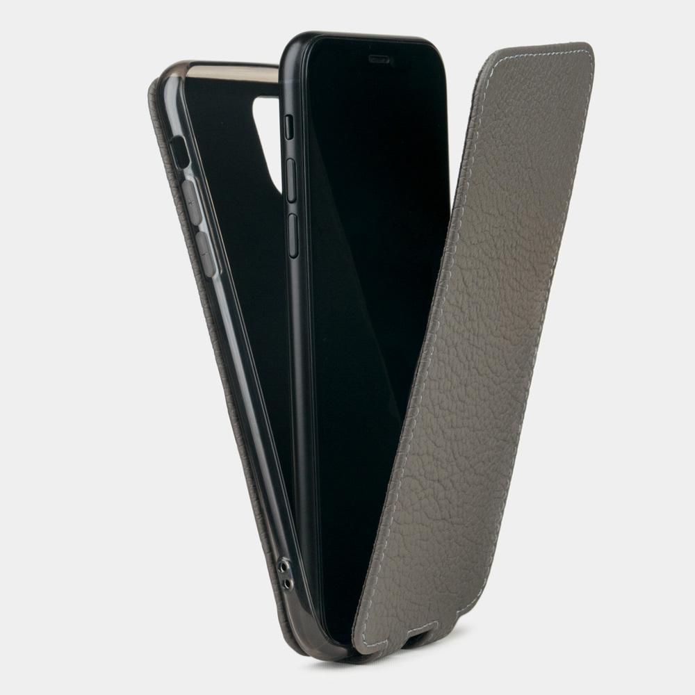 Чехол для iPhone 11 Pro из натуральной кожи теленка, серого цвета