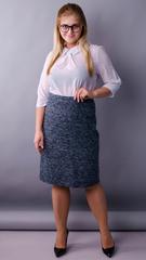 Пион букле. Офисная юбка больших размеров. Синий.