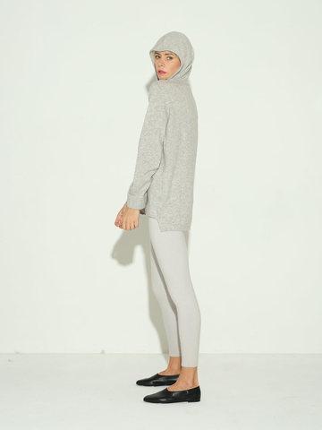 Женский джемпер с капюшоном светло-серого цвета из шерсти и кашемира - фото 3