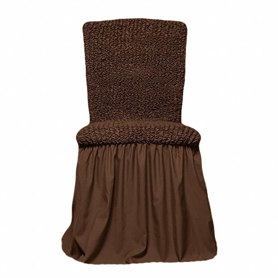 Чехлы на стулья универсальные, комплект из 6 штук, шоколад