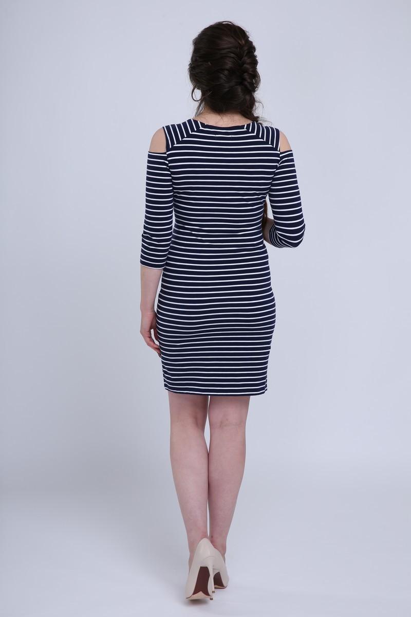 Платье для беременных и кормящих 08732 синий/белый