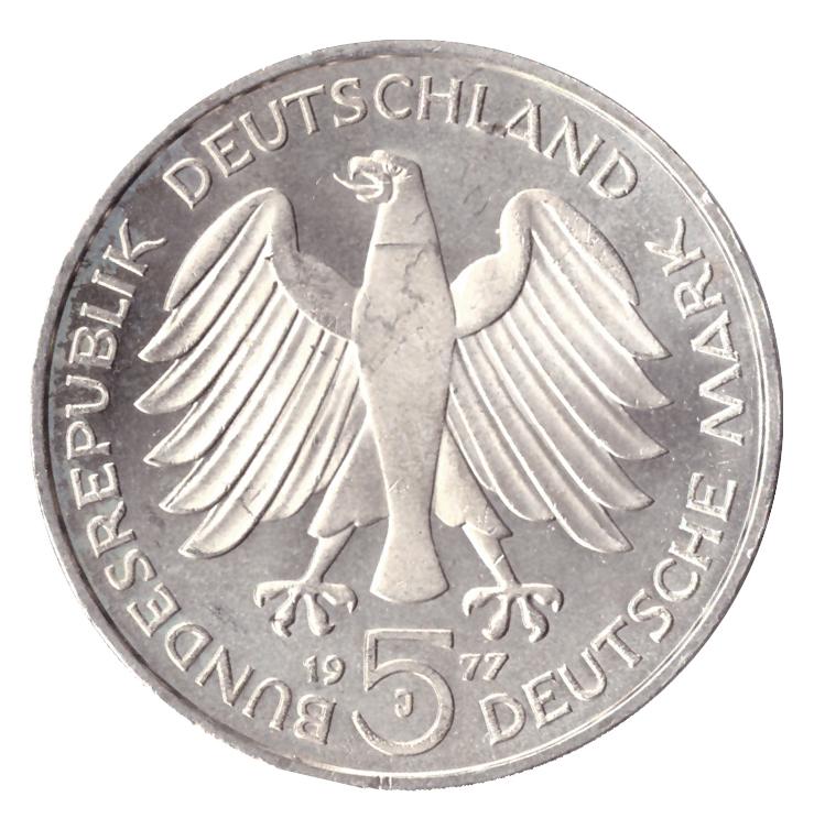 5 марок. 200 лет со дня рождения Карла Фридриха Гаусса. (G). Серебро. 1977 год. AU