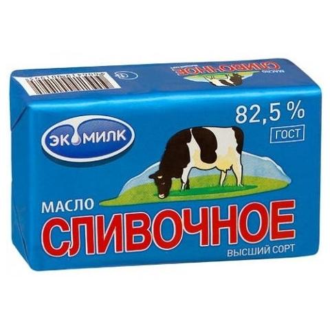 """Масло сливочное """"Экомилк""""  82,5% 180г"""