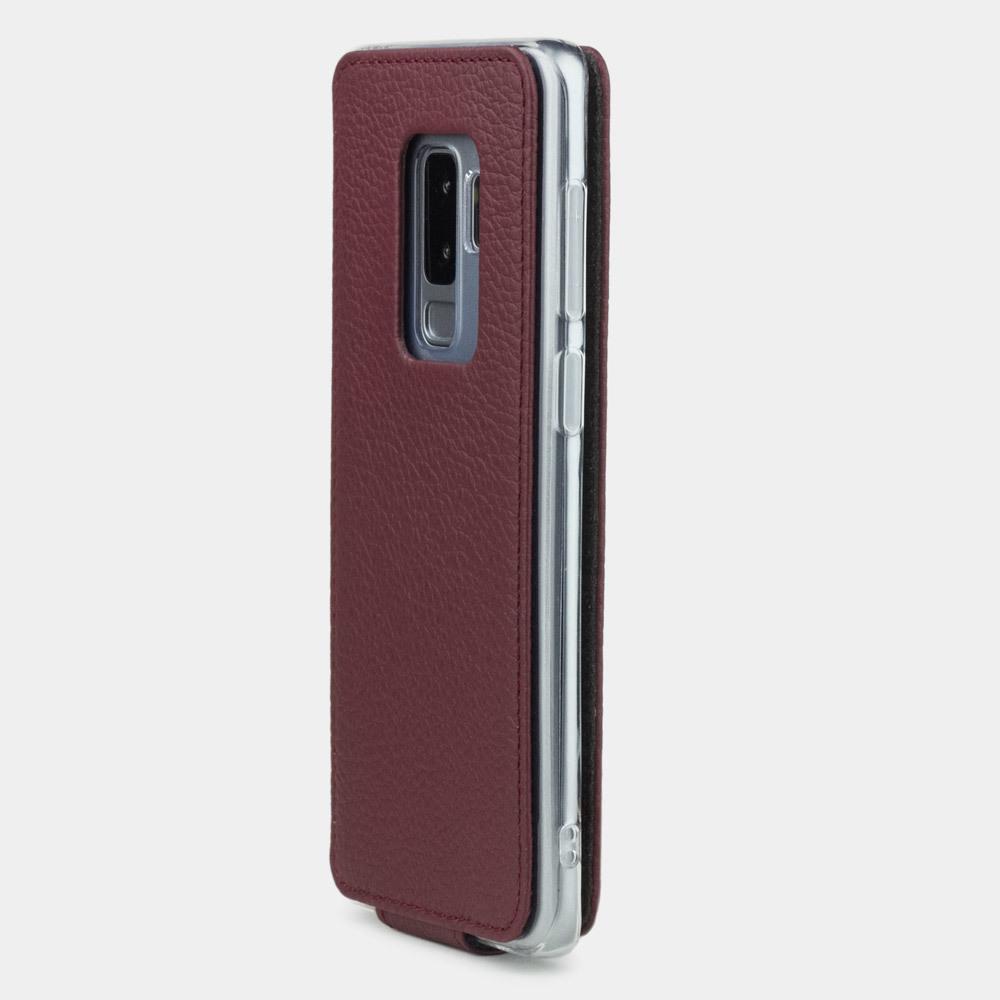 Чехол для Samsung Galaxy S9 Plus из натуральной кожи теленка, бордового цвета