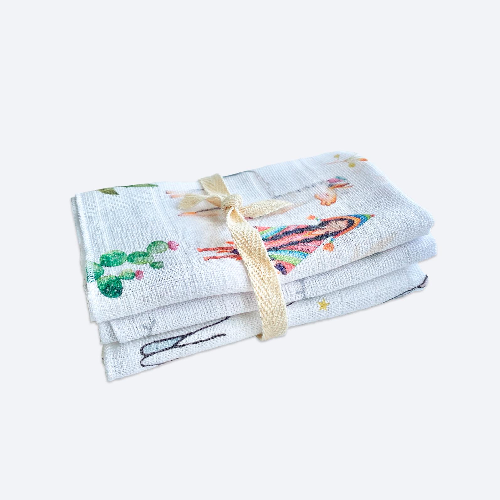 Сет из 3х муслиновых салфеток Mjölk Ламы/Глазки/Заиньки