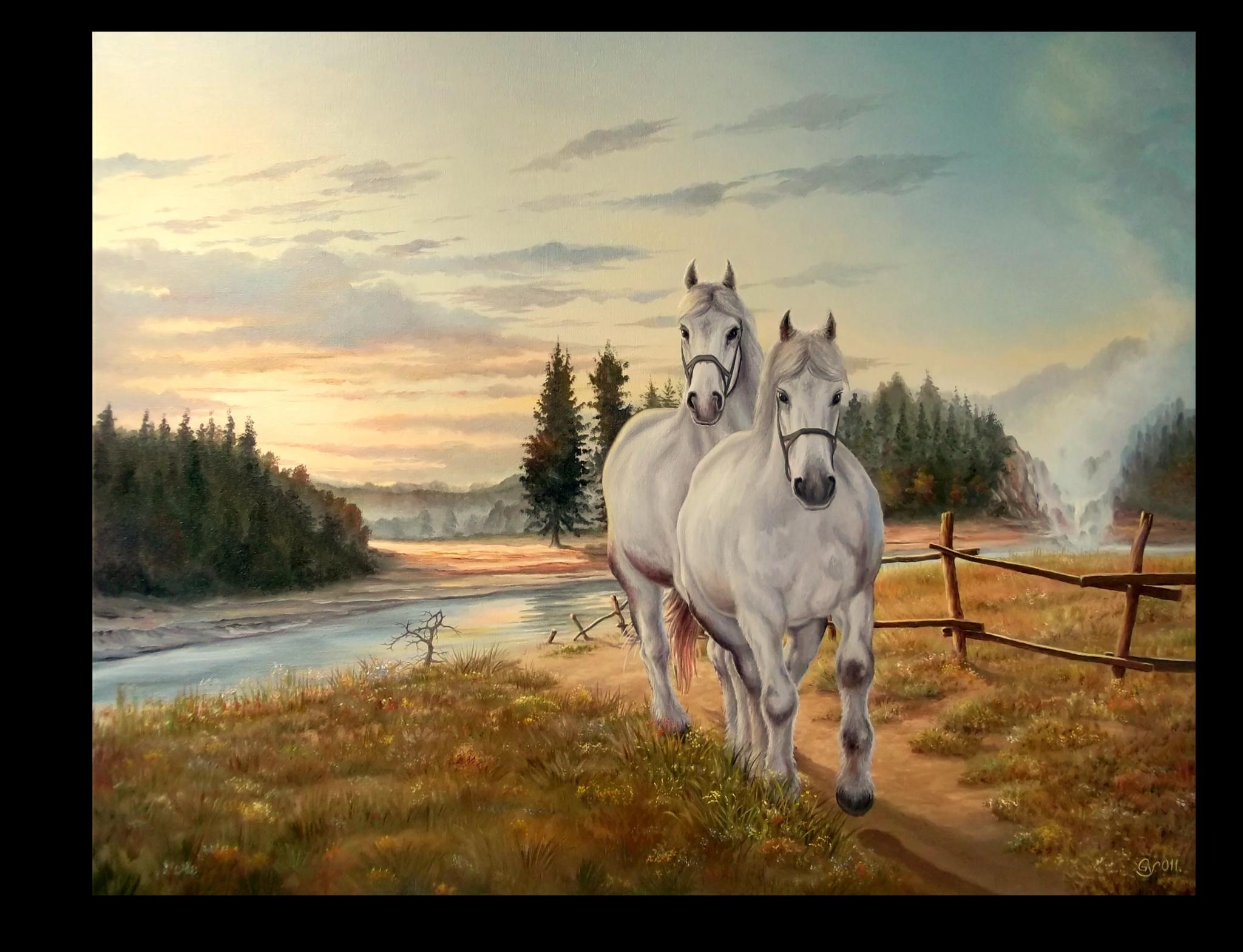 """Постеры Постер """"Два белых коня"""" п176.png"""