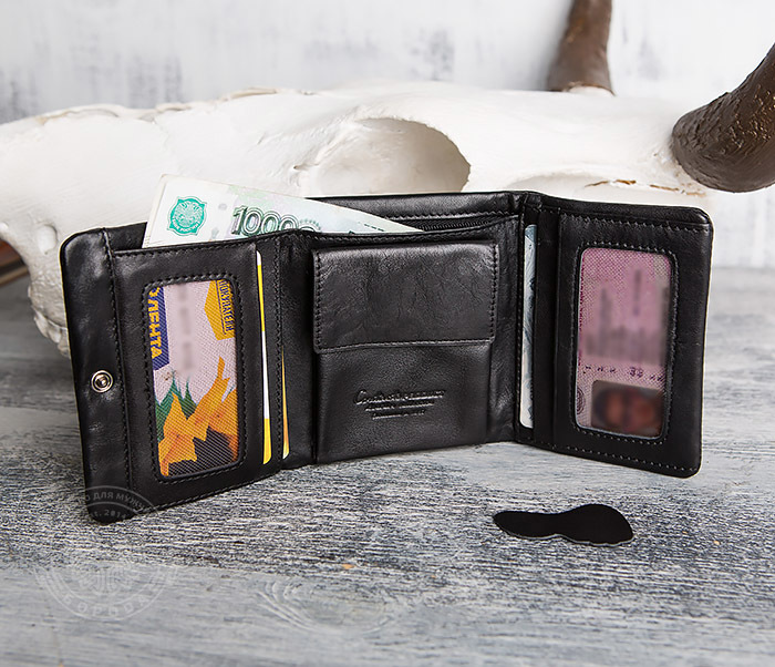 WL286-1 Мужской кожаный кошелек с монетницей фото 11
