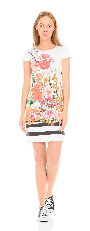 Платье З094-124 - Платье-футляр приталенного силуэта. Благодаря плотной,  эластичной ткани и удачному крою, отлично  сидит на фигуре любого типа. Классическая модель с цветочным принтом, украсит летний повседневный образ