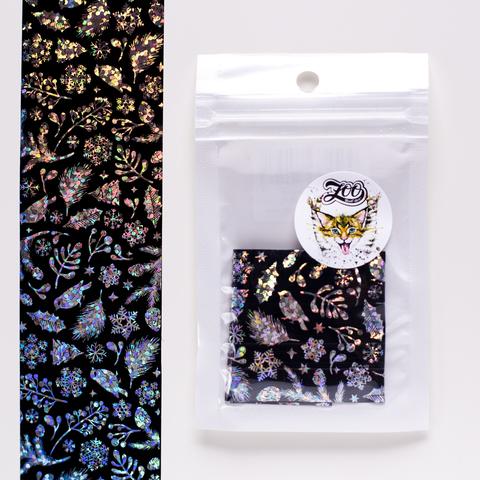 1456 Фольга переводная 4*50 см новогодняя чёрная серебро