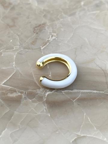 Кафф из позолоченного серебра и белой эмали