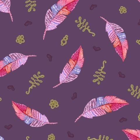 Перья на фиолетовом фоне