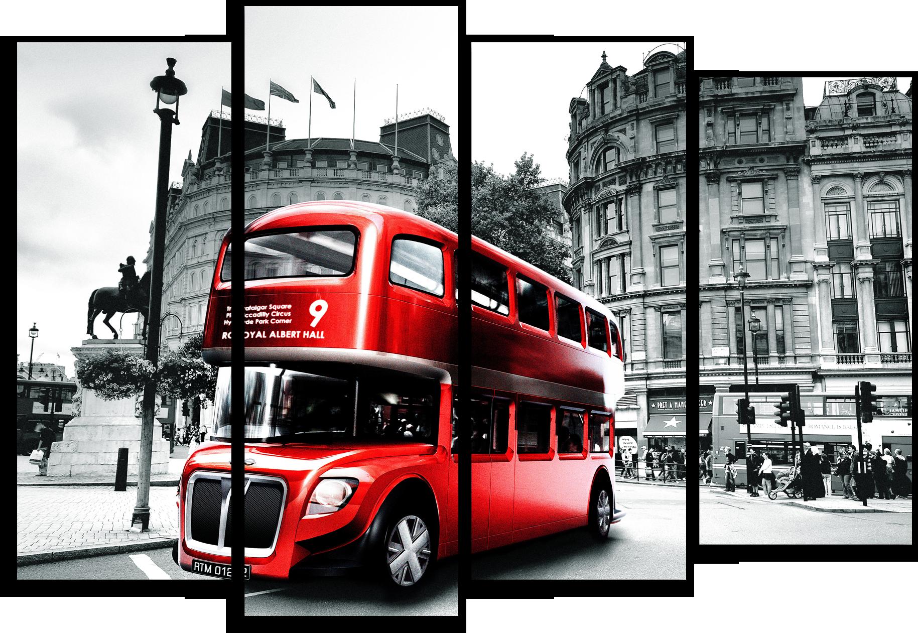 """Города Модульная картина """"Лондонский автобус"""" М308.png"""