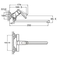 Фото размеры смесителя для кухни Zegor NOF12-A033
