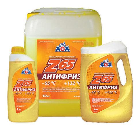 Антифриз AGA Z65, готовый к применению, желтый, -65С