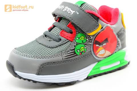 Светящиеся кроссовки для мальчиков Энгри Бердс (Angry Birds) на липучках, цвет темно серый, мигает картинка сбоку. Изображение 1 из 15.