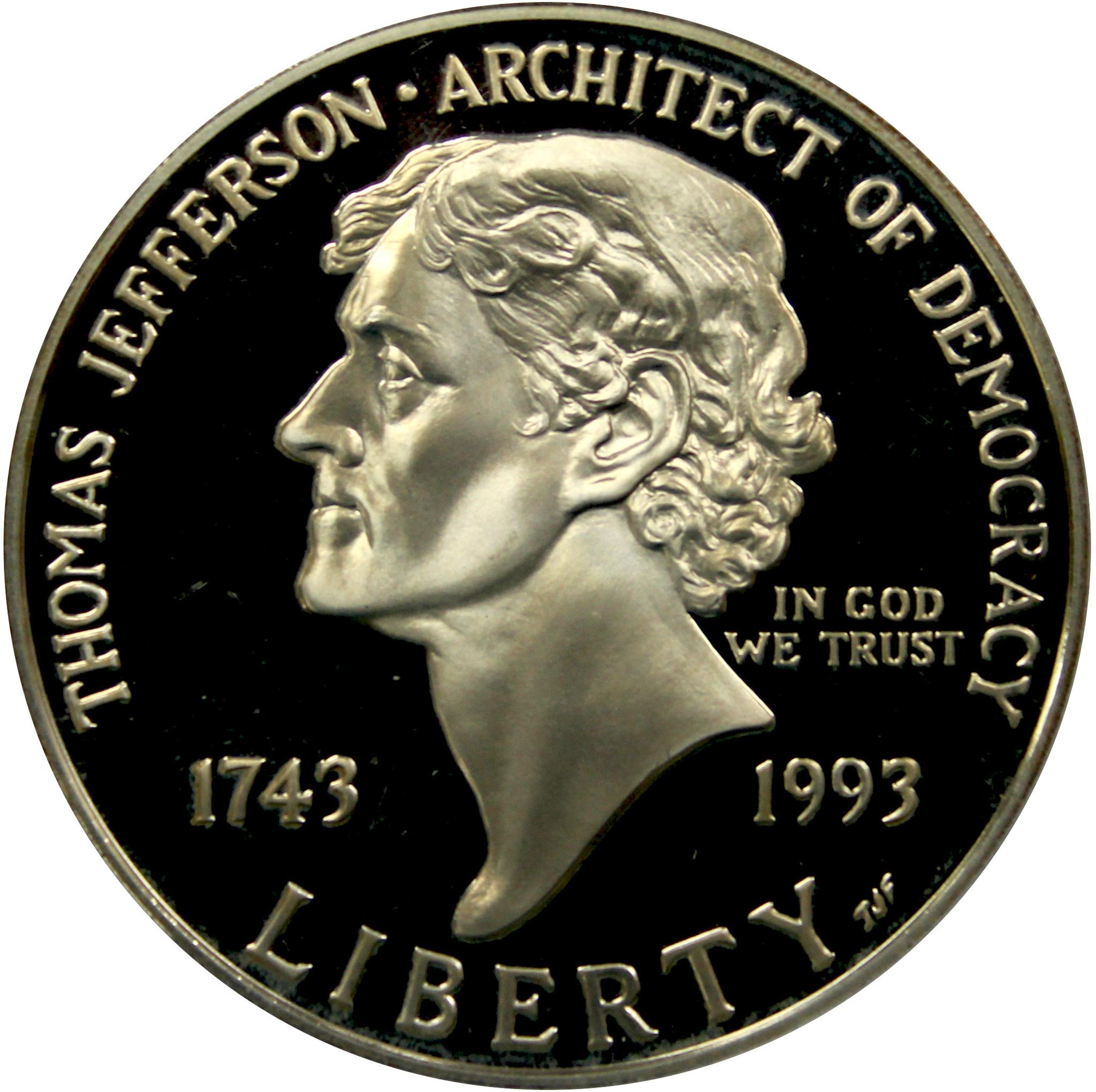 1 доллар 1993 (S) (250-летие со дня рождения Томаса Джефферсона) PROOF