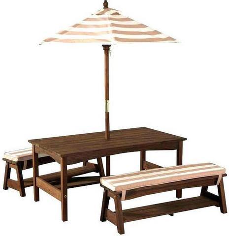 KidKraft Стол со скамейками и зонтом - белые и бежевые полосы 00500_KE