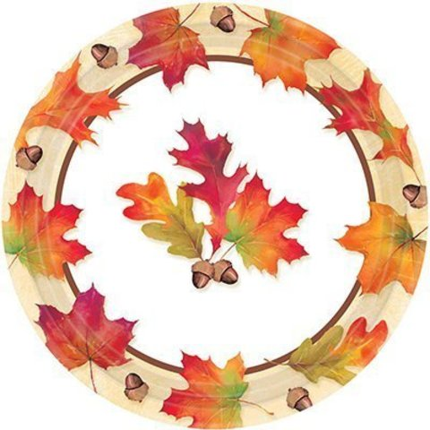 Тарелки большие Осенние листья, 8 штук