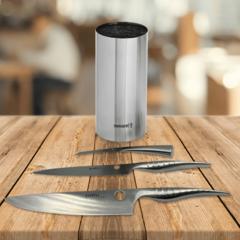 Набор из 3 кухонных стальных ножей Samura REPTILE и подставки KBA-100