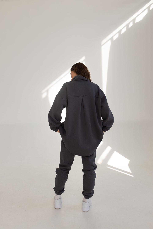 Утеплённая рубашка оверсайз из футера графит