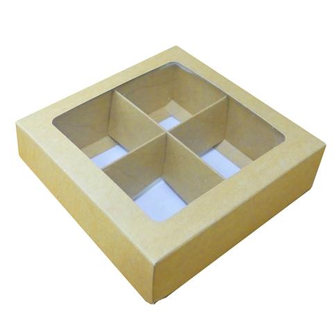 Коробочка для 4 конфет (крафт)
