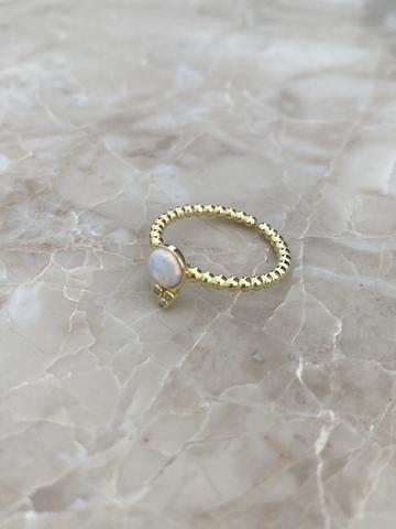 Кольцо Эдем из позолоченного серебра с розовым опалом