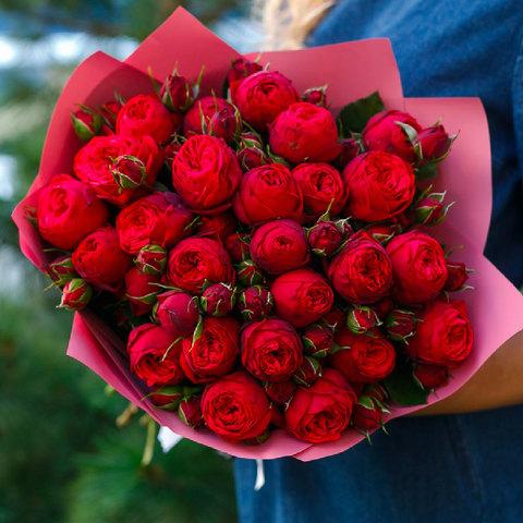 Букет из 25 пионовидных роз Red Piano