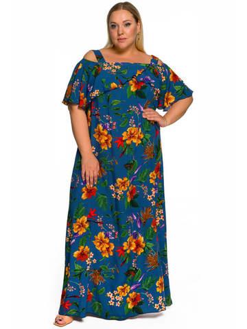 Длинное платье с крылышком, синее